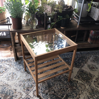 IKEA - IKEAネスナ サイドテーブル ラタンテーブル ガラステーブル