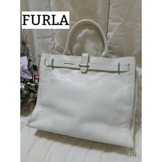 Furla - FURLA フルラ レザー ホワイト ハンドバッグ トートバッグ