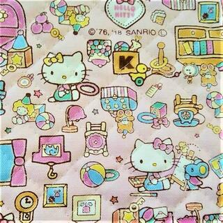 ハローキティ(ハローキティ)のキティちゃん キルト お部屋 ピンク 生地 Kitty fabric(生地/糸)