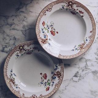 【希少】フランスアンティーク クレイユモントロー ディナープレート 皿