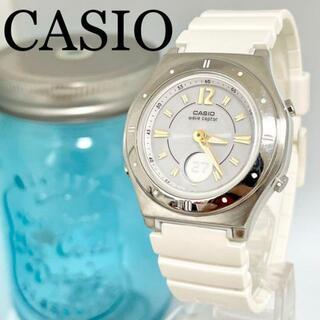 カシオ(CASIO)の70 カシオ時計 レディース腕時計 電波ソーラー ホワイト 軽量 スポーツ(腕時計)