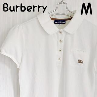 バーバリーブルーレーベル(BURBERRY BLUE LABEL)のBURBERRY ブルーレーベル ポロシャツ ホワイト リボン 定番 シンプル(ポロシャツ)