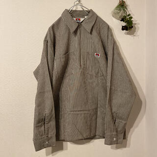 ベンデイビス(BEN DAVIS)の80s BEN DAVIS ヒッコリーハーフジップワークシャツ(シャツ)