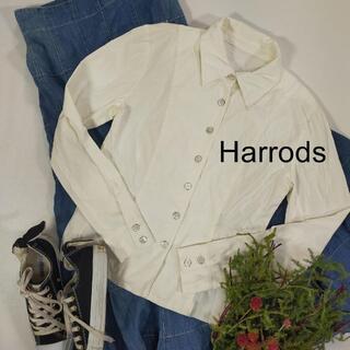 ハロッズ(Harrods)のハロッズ ホワイト ブラウス サイズ2 M 白シンプル フォーマル(Tシャツ(長袖/七分))