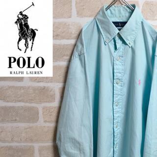 ラルフローレン シャツ 長袖 水色 刺繍ワンポイントロゴ 定番 人気 ポニー M