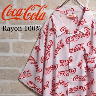 コカコーラ(コカ・コーラ)のCoca Cola コカコーラ アロハシャツ 柄シャツ 総柄 白 ホワイト ロゴ(シャツ)