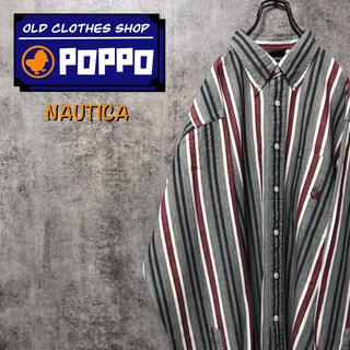NAUTICA - ノーティカ☆USA製ポケット刺繍ロゴレトロマルチストライプシャツ 90s