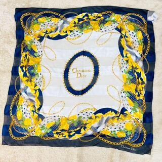 クリスチャンディオール(Christian Dior)の【美品】クリスチャンディオール 大判 スカーフ 黄薔薇 シルク100%(バンダナ/スカーフ)