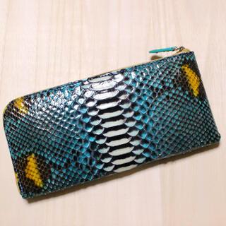 本革パイソン L字型 長財布 財布 ブルー/ホワイト 人気カラー