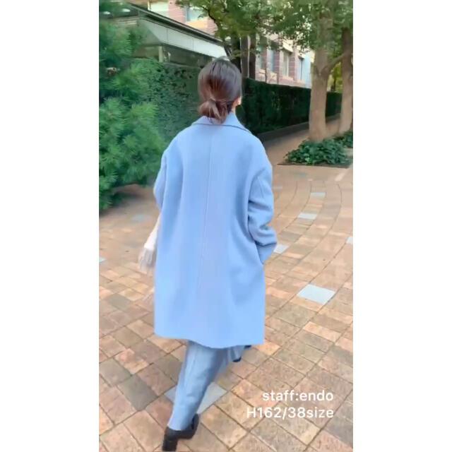IENA(イエナ)のりえ様専用 IENA イエナ ダブルモッサコート ブルー 38サイズ レディースのジャケット/アウター(ロングコート)の商品写真
