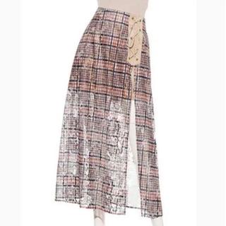 リリーブラウン(Lily Brown)のLily Brown  秋色 透かしロングスカート フリーサイズ(ロングスカート)