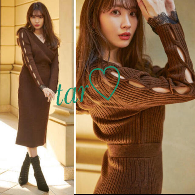snidel(スナイデル)のher lip to Wrap-Effect Knit Dress  レディースのワンピース(ロングワンピース/マキシワンピース)の商品写真