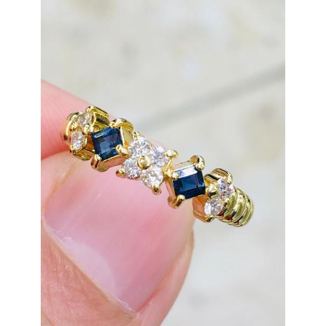 サファイヤ ダイヤ リング 指輪 K18 レディースのアクセサリー(リング(指輪))の商品写真