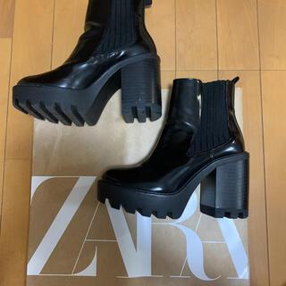 ZARA - 1度のみ 着用 ZARA ザラ 厚底 本革 サイドゴア ショートブーツ
