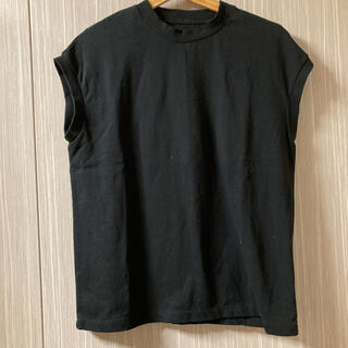 MUJI (無印良品) - 大きなサイズ 無印良品 フレンチスリーブTシャツ 黒