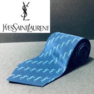 Saint Laurent - 【美品】 YSL/イヴサンローラン ネクタイ ネイビー ロゴ柄