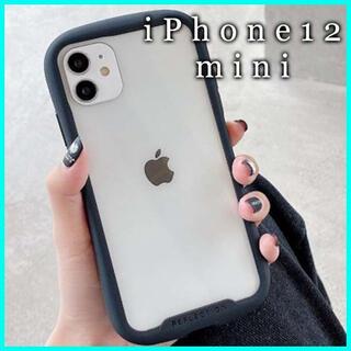 iPhone12 mini ケース クリア ガラス カバー 保護 韓国 黒 F