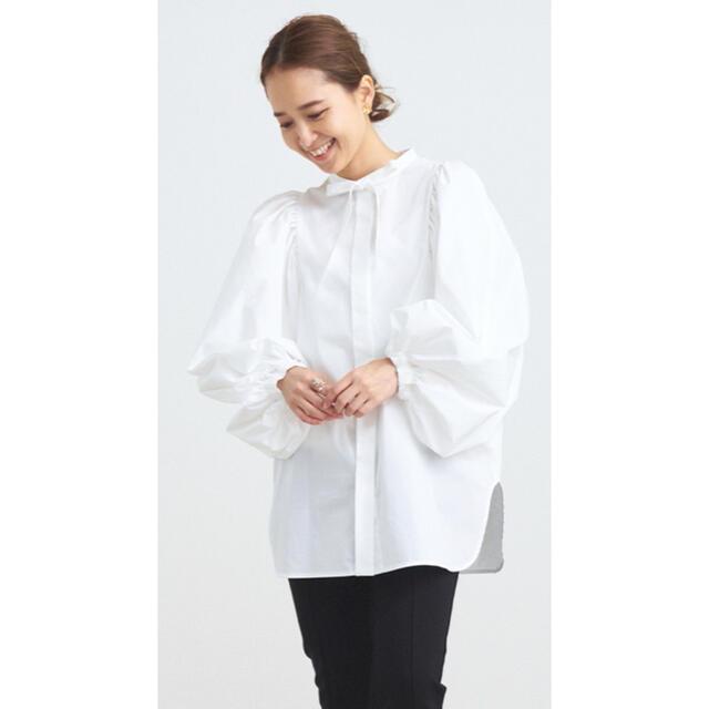 新品 yori リボンパフスリーブブラウス ホワイト レディースのトップス(シャツ/ブラウス(長袖/七分))の商品写真