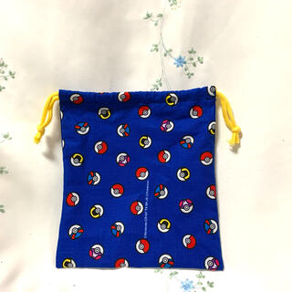 給食袋 ポケモン人気柄 ブルー コップお箸入れ おもちゃ巾着 ハンドメイド(外出用品)