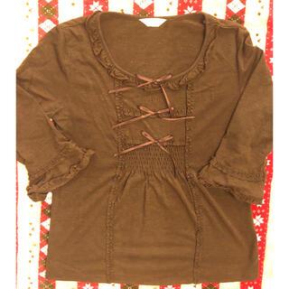 ピンクハウス(PINK HOUSE)のピンクハウス★フリル サテンリボンのTシャツ (シャツ/ブラウス(長袖/七分))
