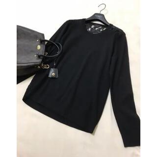 セオリー(theory)の美品 セオリー  レース ニット ブラック 黒 セーター(ニット/セーター)