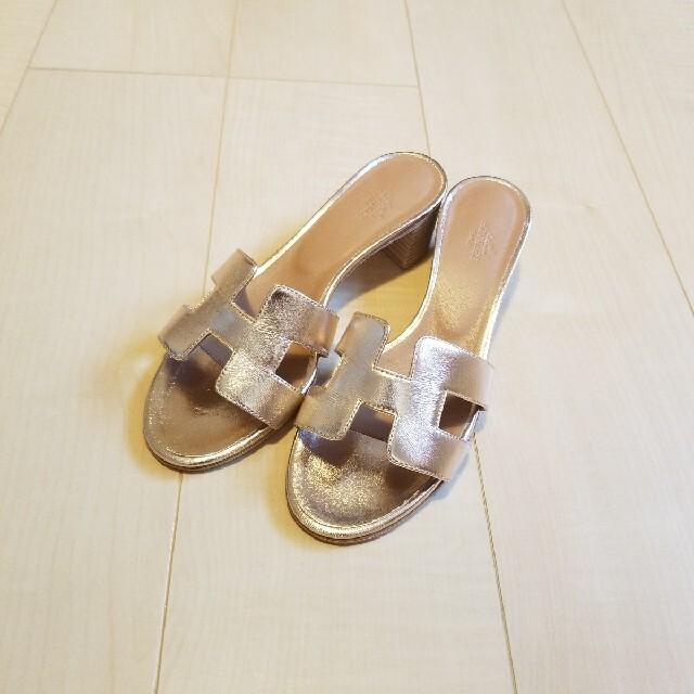 Hermes(エルメス)のHERMES★OASIS サンダル オアジス メタリックゴールド 37 エルメス レディースの靴/シューズ(サンダル)の商品写真
