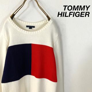 TOMMY HILFIGER - TOMMY HILFIGER オーバーフラッグロゴ ローゲージ コットンニット