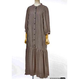 スピックアンドスパン(Spick and Span)の未使用タグ付き✳︎ JUST FEMALE ドレス ベージュ✖️ブラックボーダー(ロングワンピース/マキシワンピース)