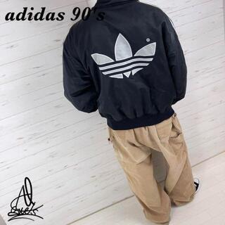 adidas - 《90s》adidas アディダス ナイロンジャケット L☆ブラック黒 刺繍ロゴ