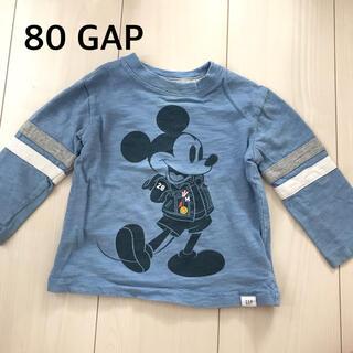 ベビーギャップ(babyGAP)の80☆GAP☆ミッキーロンT☆長袖カットソー☆ブルー(シャツ/カットソー)