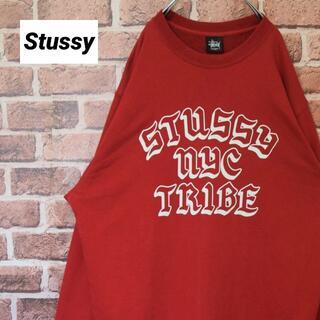 ステューシー(STUSSY)の《ステューシー》オールド黒タグ ビッグロゴ レッド Lサイズ スウェット(スウェット)