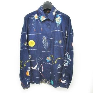 アニエスベー(agnes b.)のアニエスベー 近年モデル タラ チュニックシャツ プリント 総柄 長袖 36(シャツ/ブラウス(長袖/七分))
