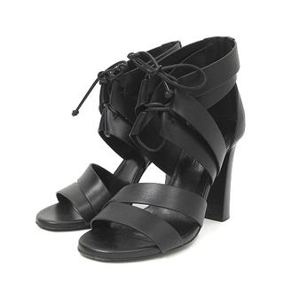 エルメス(Hermes)のエルメス ストラップ サンダル ハイヒール ブラック 36.5 靴 ECR8(サンダル)