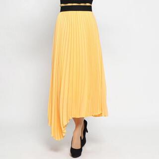 ミラオーウェン(Mila Owen)のMila Owen アシンメトリーヘムプリーツスカート オレンジ(ロングスカート)