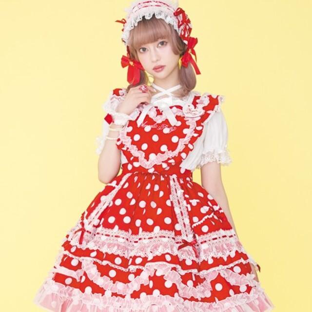 Angelic Pretty(アンジェリックプリティー)のハート胸当て付きスカート セット レディースのスカート(ひざ丈スカート)の商品写真