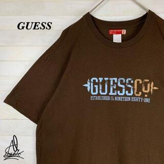 ゲス(GUESS)の《ビックサイズ》GUESS ゲス Tシャツ XXL☆ブラウン 茶色 デカロゴ(Tシャツ/カットソー(半袖/袖なし))