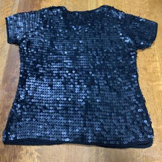 スパンコール 黒 トップス カットソー (カットソー(半袖/袖なし))