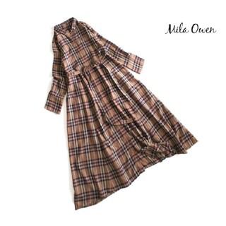 ミラオーウェン(Mila Owen)のミラオーウェン■ウール混 シャツワンピース チェック ブラウン(ロングワンピース/マキシワンピース)