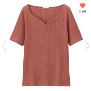 GU - リブコンパクトT GU Tシャツ 半袖 ハートネック