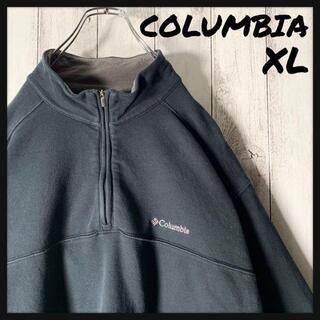 コロンビア(Columbia)の【海外企画 XL】コロンビア 刺繍ロゴ ハーフジップ スウェット 黒(スウェット)