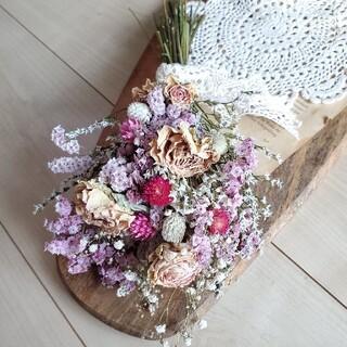 バラとビンク系ドライフラワースワッグ 花束 ブーケ(ドライフラワー)