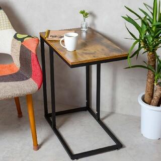 【送料無料】【新品】サイドテーブル  広い天板 キャスター付き 質感良い(ローテーブル)