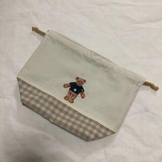 くまさん 刺繍 弁当袋 給食袋(外出用品)