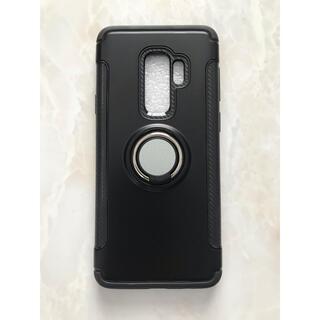 ギャラクシー(Galaxy)のGalaxyS9Plus カッコいい リング付き耐衝撃ケース  ブラック 黒(Androidケース)