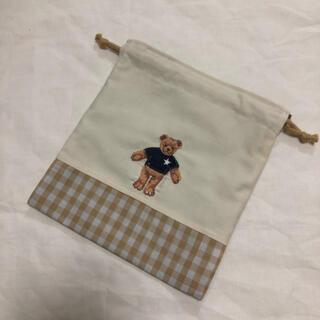くまさん 刺繍 コップ袋 巾着 ミニ巾着 巾着袋(外出用品)