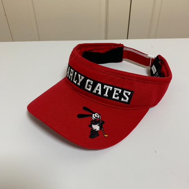 PEARLY GATES(パーリーゲイツ)のPEARLY GATESパーリーゲイツ バイザー 赤 ユニセックス メンズの帽子(キャップ)の商品写真