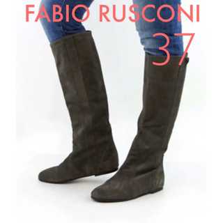 FABIO RUSCONI - 新品 ファビオルスコーニ スエード レザー ロングブーツ 37 23.5cm
