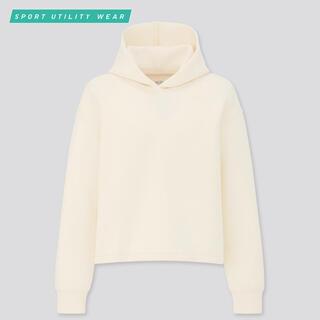 UNIQLO - ウルトラストレッチドライスウェットプルパーカ(長袖)オフホワイト Lサイズ