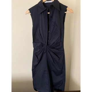 クリスチャンディオール(Christian Dior)のディオール コットン膝丈ワンピース サイズ34 ネイビー(ひざ丈ワンピース)