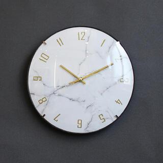 【新品・送料無料】大理石調文字盤 壁掛け時計 静かな無音スイープ秒針